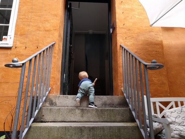 Alvin kravler op ad stentrappen i en baggård på Christianshavn.